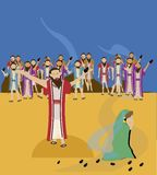 Jesus and adulterous woman vector illustration