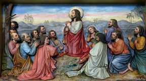 Jesus And Apostles In The Mount Of Olives Stock Photo