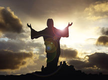 Jesus with arms raised 1. Christ looking up to heaven with arms lifted Royalty Free Stock Images