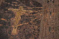 Jesus auf alter Bibel Stockfotografie