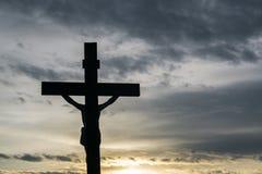 Jesus auf dem Kreuz Stockbild