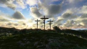 Jesus auf Kreuz, Wiese mit Oliven, Zeitspannesonnenuntergang, Gesamtlänge auf Lager