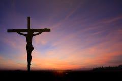 Jesus auf Querhintergrund stockfoto