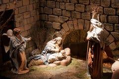 Jesus baby. CHINCHILLA DE MONTEARAGON - DECEMBER 30: a Jesus Christ scene of the Christmas crib in the belen de Chinchilla, on December 30, 2011 in Chinchilla de Stock Photos