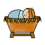 Jesus baby on Straw cradle manger character Royalty Free Stock Images