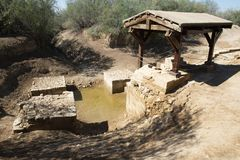 Jesus Baptism Site, Jordan Travel stock foto's