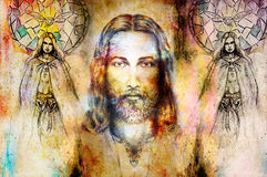 Jesus and beautiful angel being with dove and sprig, spiritual concept. Jesus face in cosmic space. Stock Images