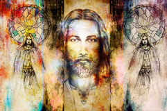 Jesus and beautiful angel being with dove and sprig, spiritual concept. Jesus face in cosmic space. vector illustration