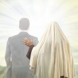 Jesus begeleidt de ziel Royalty-vrije Stock Afbeeldingen