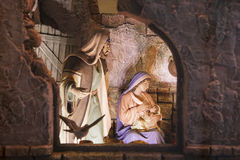 Jesus being breastfeed. Christmas Nativity scene Stock Images