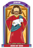 JESUS - Bible Character. Jesus, Son of God holding baby lamb in front of a doorway Stock Photos