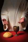 Jesus bij de Lijst van de Heilige Communie Stock Fotografie