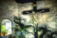 Jesus bij Kerk Zwart-witte Kleuren royalty-vrije stock foto