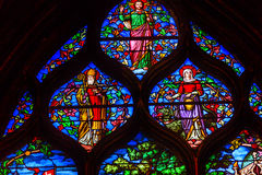 Jesus Bishop Stained Glass Saint Severin Church Paris France Stock Photography