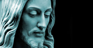Jesus, blaues Duo tonte Foto Exemplarplatz Stockbilder