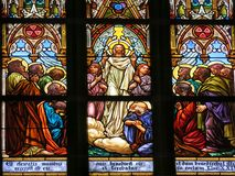 Jesus blessing disciples. Illustration in stained glass at Vysehrad Basilica, Prague of Jesus Christ dressed in white robes and with a golden halo blessing his Royalty Free Stock Photos