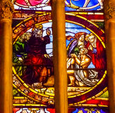 Jesus Blessing Stained Glass Cathedral Toledo Spain imagem de stock