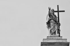 Jesus blessing. Jesus statue at hte top of Saint John cathedral in Rome Royalty Free Stock Photography