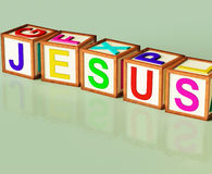 Jesus Blocks Show Son Of God And Messiah Stock Images