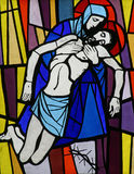 Jesus' body is removed from the cross Royalty Free Stock Photo