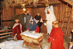 Jesus is born. Details of nativity scene with stable Stock Photo