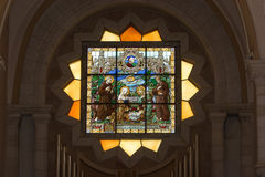 Jesus born. Stained-glass with Jesus born in Israel royalty free stock photo