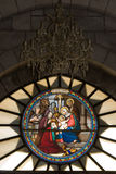Jesus born. Stained-glass with Jesus born in Israel stock images