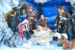 Jesus is born. Christmas Nativity Scene,statue Stock Photo