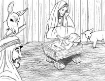Jesus Born In Manger royalty free stock photography