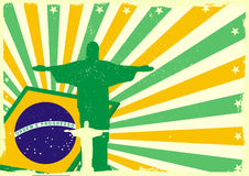 Jesus and brazilian flag. Detailed illustration of the Jesus Statue of Rio de Janeiro in front of a grungy brazilian flag backbround Stock Photo