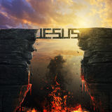Jesus bridge over fire. A Jesus bridge between two mountains over fire Royalty Free Stock Photo