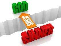 Jesus is the bridge from SINNER to GOD. vector illustration