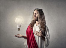 Jesus with a bulb Stock Image
