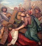 Jesus cai a segunda vez, 7as estações da cruz foto de stock