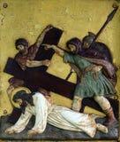 Jesus cai a terceira vez, 9as estações da cruz Imagens de Stock