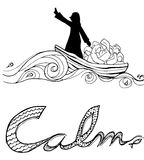 Jesus calm storm line art illustration christian art Royalty Free Stock Images