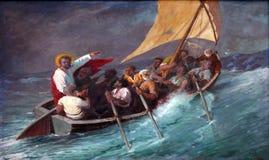 Jesus calma una tempesta sul mare Fotografia Stock Libera da Diritti