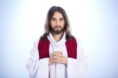 Jesus calmo que diz a oração fotografia de stock