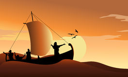 Jesus Calms the Sea. At sunset Royalty Free Stock Images