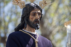 Jesus captive of St. Genevieve, Easter in Seville. Captive image of the face of Jesus in the Holy Week in Seville Stock Photography