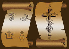 Jesus carrying cross. Old paper scroll on dark background. With Jesus carrying cross Stock Photography
