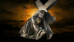 Jesus. Carrying the cross, the movement of clouds stock video footage