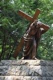 Jesus Carrying het Kruis bij het Nationale Heiligdom van onze Treurige Moeder de Grot in Portland, Oregon royalty-vrije stock foto