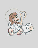 Jesus cartoon d. Hand drawn vector illustration or drawing of a smiling Jesus Good Shepherd with a sheep in a cartoon style Stock Image