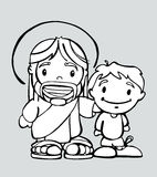 Jesus cartoon g. Hand drawn vector illustration or drawing of a cartoon of Jesus Christ smiling and a boy Royalty Free Stock Photography