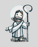 Jesus cartoon a. Hand drawn vector illustration or drawing of Jesus Good Shepherd in a cartoon style Stock Photography