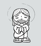 Jesus cartoon i. Hand drawn vector illustration or drawing of a cartoon of Jesus Christ smiling and praying Stock Photo