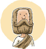 Jesus. Cartoon Jesus with thick beard and robes vector illustration