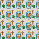 Jesus with catholic cross and palm branches background royalty free illustration