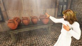 Jesus Changes Water Into Wine-Illustratie Royalty-vrije Stock Afbeeldingen